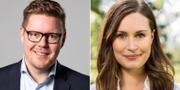 Finlands statsministerkandidater Antti Lindtman och Sanna Marin. SDP