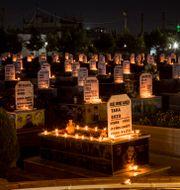 Ljus på gravar för personer som dödats under Syrienkriget, i staden Qamishli i norra Syrien.  Baderkhan Ahmad / TT NYHETSBYRÅN
