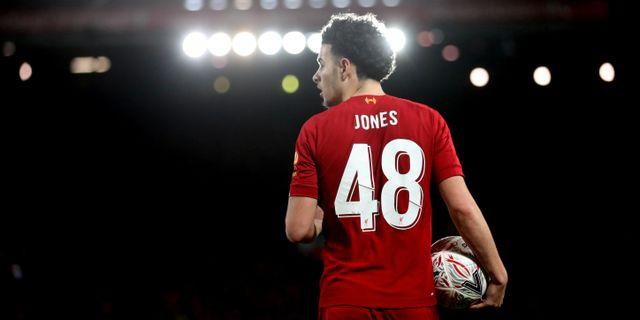 Liverpools Curtis Jones vid söndagens FA-cupmatch. Carl Recine / TT NYHETSBYRÅN