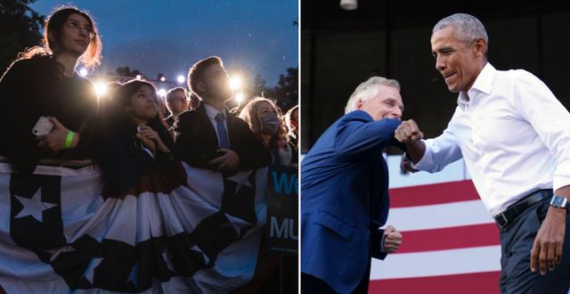 McAuliffe och Obama på kampanjmötet i Virginia. TT