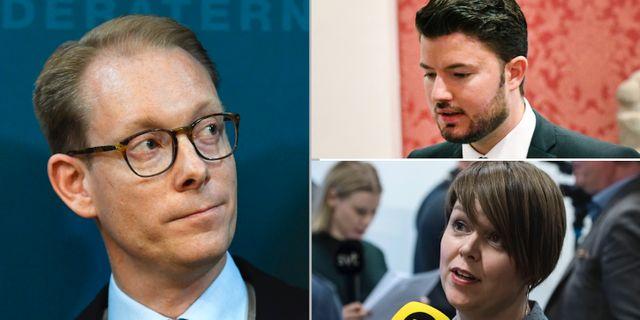 Tobias Billström (M), L:s ordförande i Malmö Roko Kursar,  Katrin Stjernfeldt Jammeh (S). TT