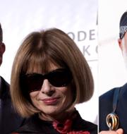Fotografen Mario Testino, Vogues chefredaktör Anna Wintour och forografen Bruce Weber. TT