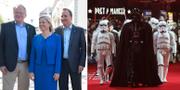 Peter Hultqvist, Magdalena Andersson och Stefan Löfven och till höger Star Wars-karaktären Darth Vader. TT
