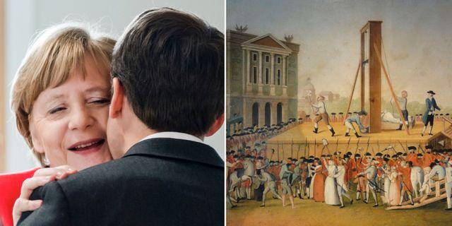 Merkel och Macron under toppmötet, målning: avrättningen av Marie-Antionette 1793. POOL / TT NYHETSBYRÅN