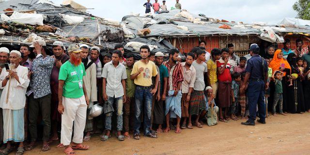 Flyktinglägret i samband med Guterres besök. MOHAMMAD PONIR HOSSAIN / TT NYHETSBYRÅN