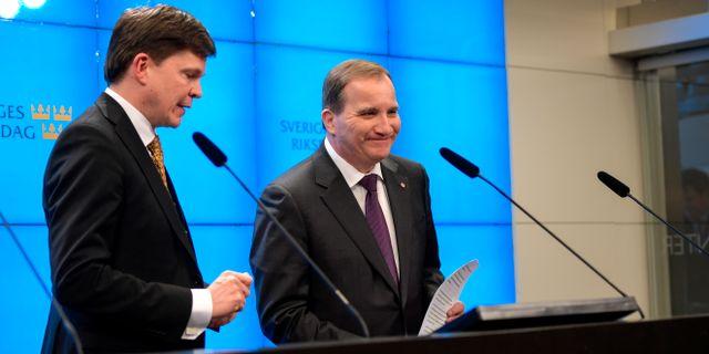 Talman Andreas Norlén och Stefan Löfven på presskonferensen idag.  Anders Wiklund /TT / TT NYHETSBYRÅN