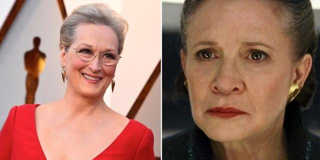 Meryl Streep/Carrie Fisher i rollen som prinsessan Leia. TT