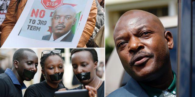 Arkiv. Protester mot Pierre Nkurunziza inför valet 2015.  TT