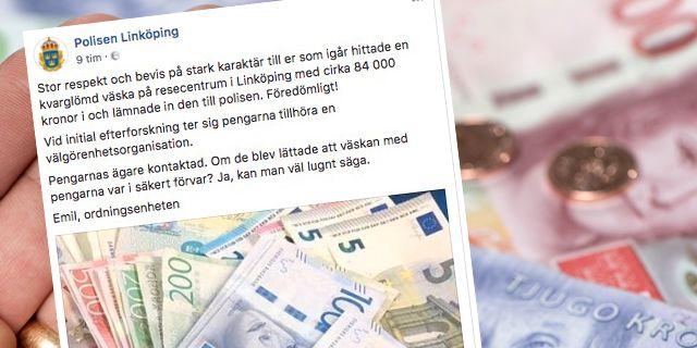 Hittade väska med 84 000 – hyllas av polisen | Aftonbladet