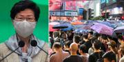 Carrie Lam/Protester i Hongkong.  TT