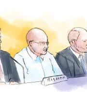 Teckning från rättegången i tingsrätten. Petra Frid/TT / TT NYHETSBYRÅN