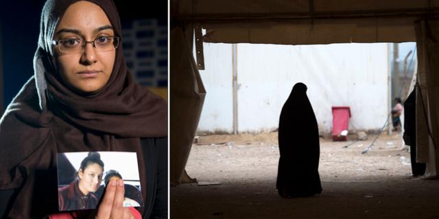 Shamima Begums syster Renu Begum håller en bild av systern/illustrationsbild, kvinna i syriskt flyktingläger. TT
