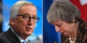 Juncker och May. Arkivbilder.  TT