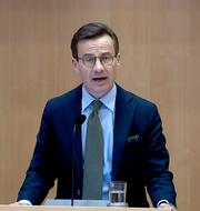 Ulf Kristersson i partiledardebatten. SVT