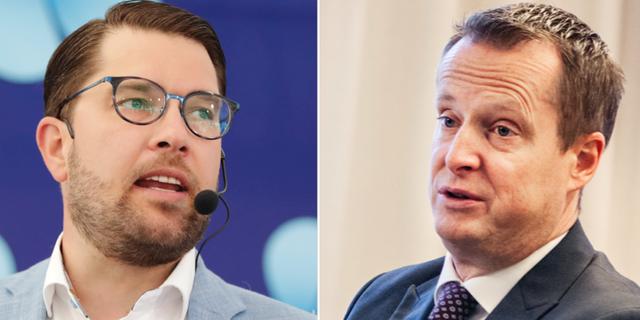 SD-ledaren Jimmie Åkesson och energi- och digitaliseringsminister Anders Ygeman (S).  TT