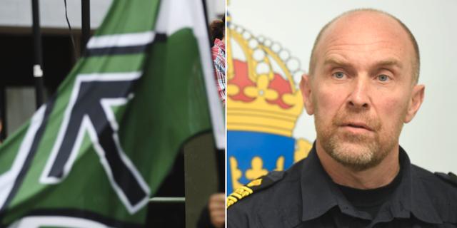 Bild på NMR-flagga, även på polisen Stefan Hector. TT
