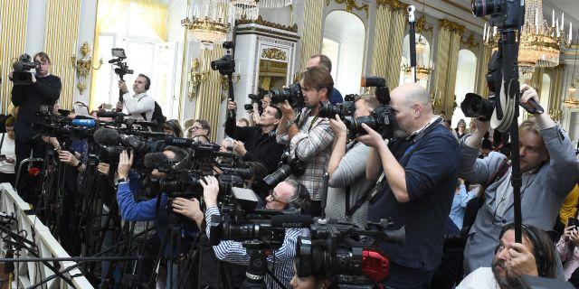 Medieuppbåd vid tillkännagivandet av Nobelpriset i litteratur. Alexander Larsson Vierth/TT / TT NYHETSBYRÅN