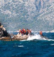 Syriska flyktingar fotade i samband med en räddningsinsats. Malin Hoelstad/SvD/TT / TT NYHETSBYRÅN