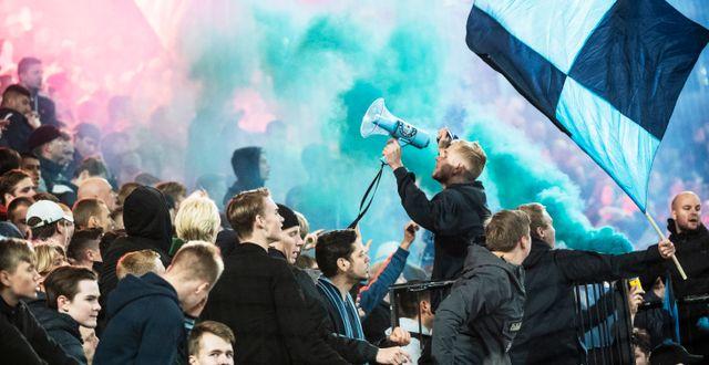 Djurgårdsfans på läktaren under en fotbollsmatch i herrallsvenskan mellan Djurgårdens IF och Helsingborgs IF på Tele2 Arena i september. Karin Wesslén/TT / TT NYHETSBYRÅN