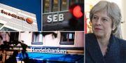 Illustration: Swedbank, SEB, Handelsbanken och Storbritanniens premiärminister Theresa May. TT