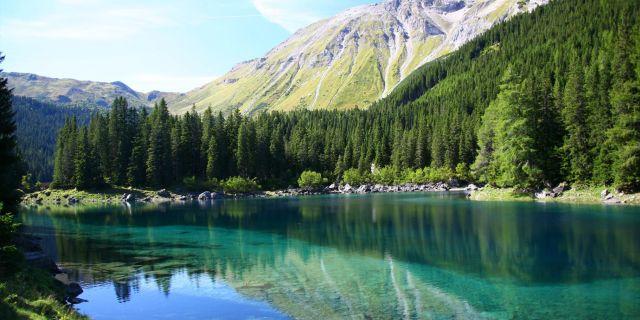 Den gröna sjön ligger nära byn Tragöss i regionen Steiermark i Österrike. Wikicommons