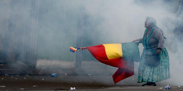 Protester i Bolivia. Natacha Pisarenko / TT NYHETSBYRÅN