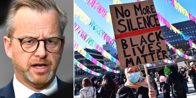 Mikael Damberg/protest vid Sergels torg.  TT