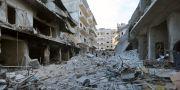 Spillror efter ett sönderbombat hus i Ariha i Idlib. Ghaith Alsayed / TT NYHETSBYRÅN