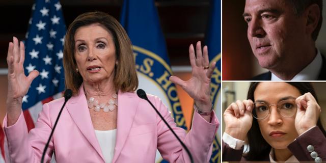 Nancy Pelosi, Adam Schiff och Alexandria Ocasio-Cortez. TT
