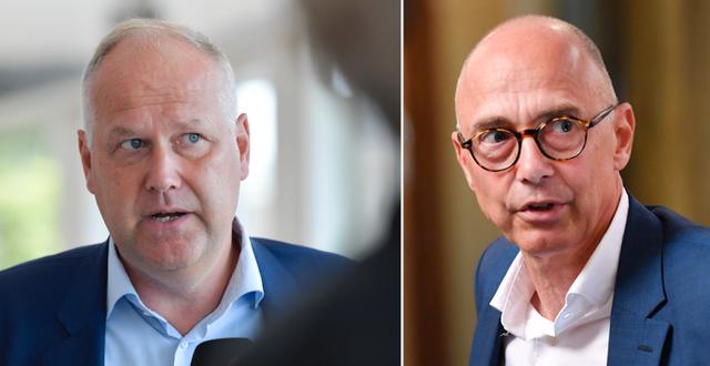 Jonas Sjöstedt (V)/Migrationskommitténs ledamot Rikard Larsson (S). TT