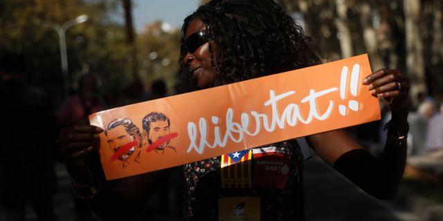 Demonstration i Barcelona till stöd för Jordi Sànchez. Santi Palacios / TT / NTB Scanpix
