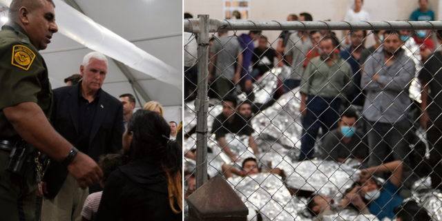Mike Pence besökte migrantförvaret i McAllen. TT