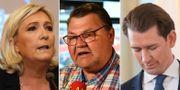 Marine Le Pen, Peter Lundgren, Sebastian Kurz.  TT.