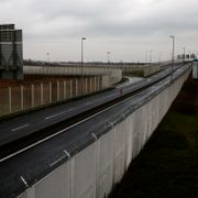 The road heading the check point on the Eurotunnel site is pictured in Coquelles, Monday Jan.4, 2021. Michel Spingler / TT NYHETSBYRÅN