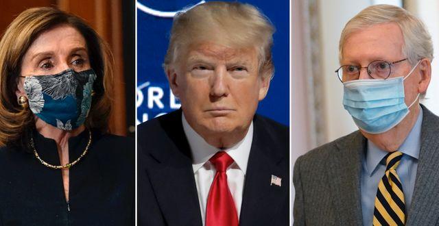 Nancy Pelosi, Donald Trump och Mitch McConnell. TT.