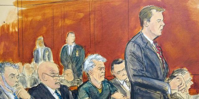 Jeffrey Epstein i rätten.  Elizabeth Williams / TT NYHETSBYRÅN