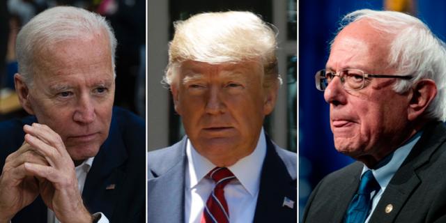Joe Biden, Donald Trump, Bernie Sanders TT