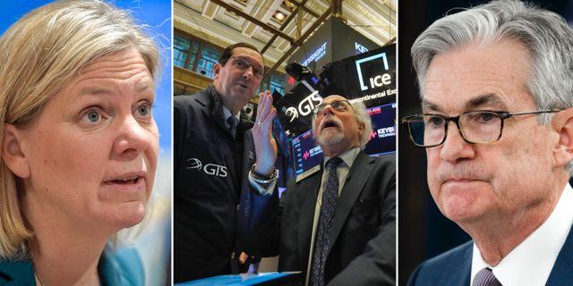 Arkivbilder: Finansminister Magdalena Andersson, Fed-chefen Jerome Powell, börsmäklare på Wall Street. TT