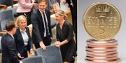 Finansminister Magdalena Andersson (S), Mats Persson (L), Emil Källström (C) och Karolina Skog (MP) när budgetpropositionen för 2020 presenterades i riksdagen. TT