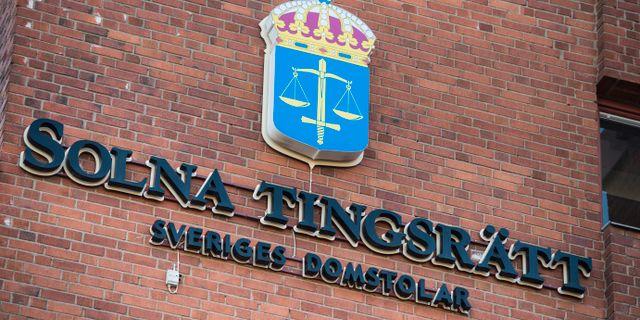 Bild från Solna tingsrätt där mannen dömdes i första instans. Pontus Lundahl/TT / TT NYHETSBYRÅN