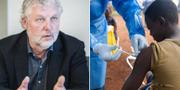 Peter Eriksson (MP)/Pojke vaccineras mot ebola. Arkivbilder. TT