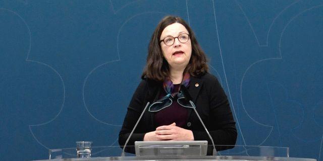 Utbildningsminister Anna Ekström (S) under onsdagens presskonferens. Janerik Henriksson/TT / TT NYHETSBYRÅN