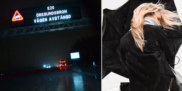 Arkivbild, Öresundsbron/Kvinna som kämpar mot vinden i stormen i Skåne. TT