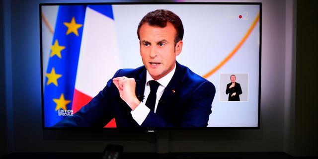 Macron talar idag. DAMIEN MEYER / AFP