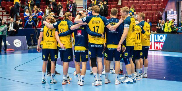 Svenska laget i sista matchen mot Island. LUDVIG THUNMAN / BILDBYRÅN