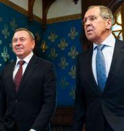 Belarus utrikesminister Vladimir Makei träffade idag Sergej Lavrov vid sitt besök i Moskva. TT NYHETSBYRÅN