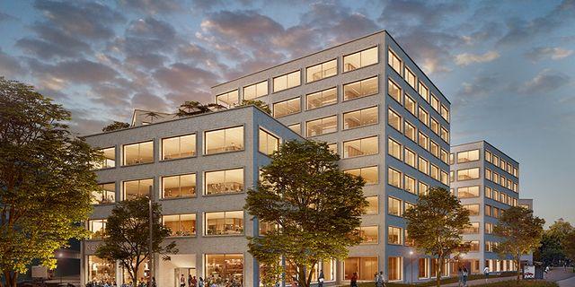 Kontorsfastigheten Grow i Solna strand. Ett av de projekt som finansieras genom gröna obligationer. Illustration:  Carbon White/Tham & Videgård Arkitekter.