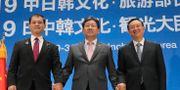 Japans kulturminister Masahiko Shibayama, Park Yang-woo från Sydkorea och Luo Shugang från Kina. YONHAP / TT NYHETSBYRÅN