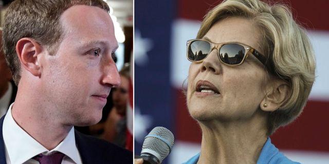 Mark Zuckerberg och Elizabeth Warren. TT