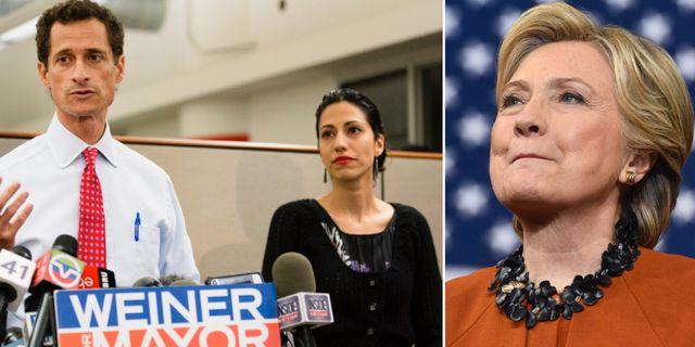 Anthony Weiner och hans fru Huma Abedin. Hillary Clinton till höger TT